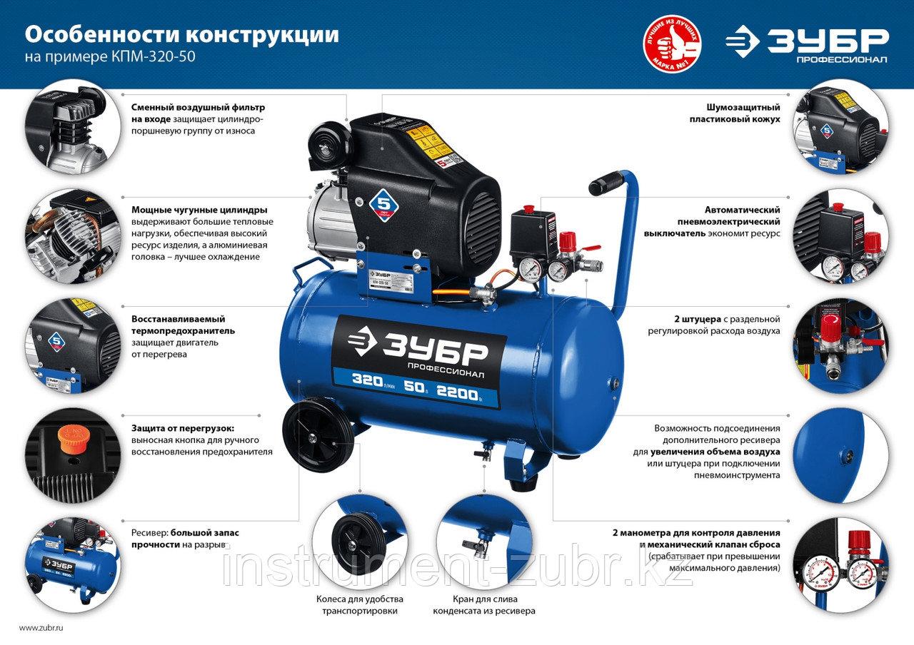 Компрессор воздушный, 400 л/мин, 50 л, 2200 Вт, ЗУБР - фото 3