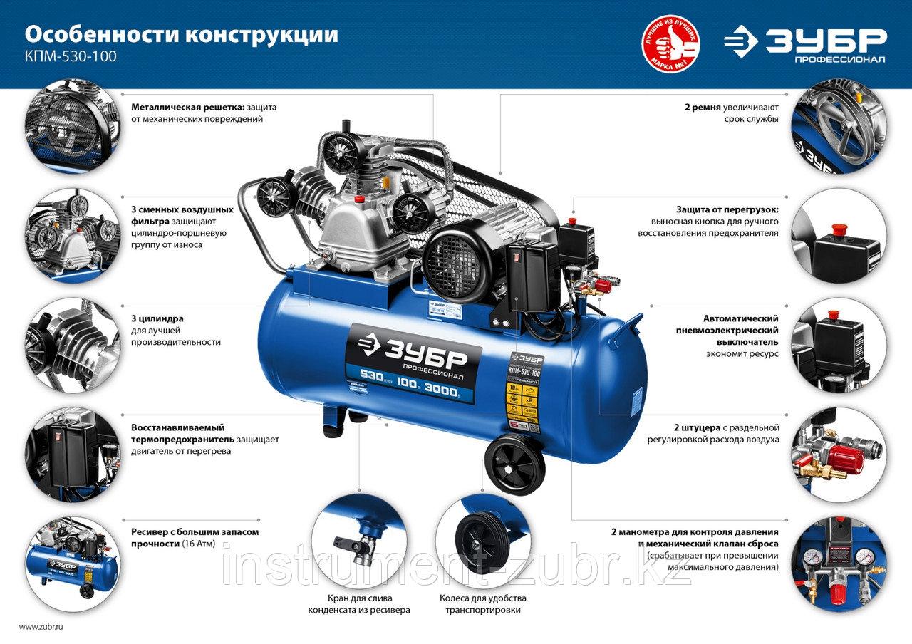 Компрессор ременной, 380 В, 530 л/мин, 100 л, 3000 Вт, ЗУБР - фото 3