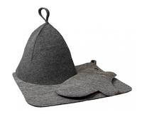 Набор из трех предметов (шапка, коврик, рукавица) серый Hot Pot