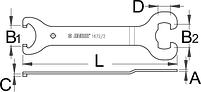 Ключ для снятия и установки кареток старого типа - 1672/2 UNIOR, фото 2