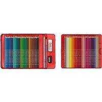 Подарочный набор акварельных, цветных карандашей, в металлической коробке с окошком, 48 шт, + 1 чёрн