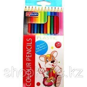 Карандаши цветные пластиковые SKYGLORY 12 цветов
