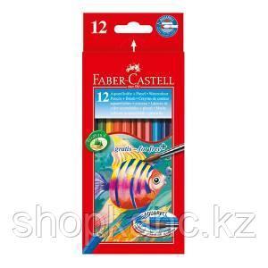 Карандаши акварельные, шестигранные, Рыбки, с кисточкой, 12 цветов, в картонной коробке.