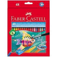Карандаши акварельные, шестигранные, Рыбки, с кисточкой, 48 цветов, в картонной коробке.