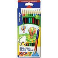 Карандаши двусторонние, Воздушные шары , 24 цвета, 12 штук, трёхгранный корпус.