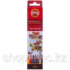 Карандаши акварельные, Mondeluz, 6 цветов.
