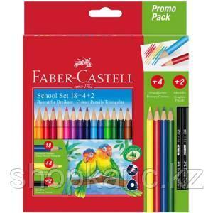 Карандаши цветные, 14 цветов + 4 доп. цвета + 2 чернографитовых карандаша, в картонной коробке.