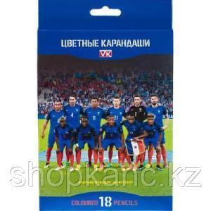 """Карандаши цветные """"Hatber VK"""", 18цв, заточенные, серия """"Футбол"""", в картонной упаковке"""