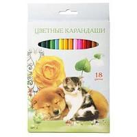 """Карандаши цветные """"VK"""" 18 цветов Мои лучшие друзья карт.упаковка/европодвес заточ."""