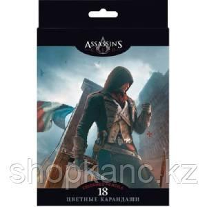 """Карандаши цветные """"Hatber VK"""", 18цв, заточенные, серия """"Assassin""""s Creed"""", в картонной упаковке"""