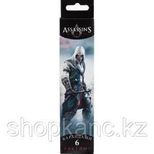 """Карандаши цветные """"Hatber VK"""", 6цв, заточенные, серия """"Assassin""""s Creed"""", в картонной упаковке"""