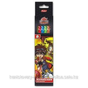 Карандаши цветные Hatber 6 цветов Бакуган карт.упаковка/европодвес заточ.