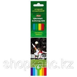 Карандаши цветные Hatber 6цв. ФУТБОЛ карт.упаковка/европодвес, заточ