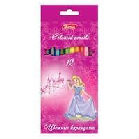 Карандаши цветные Hatber 12 цв. ПРИНЦЕССЫ НА РОЗОВОМ карт.упаковка/европодвес заточ.