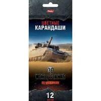 Карандаши цветные Hatber 12 цв.-World of tanks- (WOT) с заточ. в карт.короб. с европодвесом