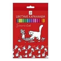 """Карандаши цветные """"Hatber VK"""", 18цв, заточенные, серия """"Кот Саймона"""", в картонной упаковке"""