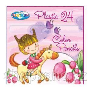 Карандаши цветные пластиковые 24 цвета Единорог