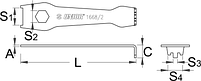 Ключ для гаек передних звёздочек - 1668/2 UNIOR, фото 2
