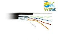 Кабель сетевой OK-WIRE FTP Cat 6 4х2х0,574 305м/уп. для внешней прокладки с тросом (цвет черный)