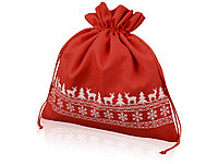 Мешочек подарочный новогодний, хлопок, большой, красный