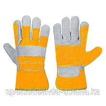 Перчатки спилковые комбинированные с двойным наладонником сертификат