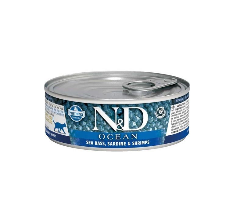 N&D Jcean Adult, сибас, сардина, креветки, банка 80гр.