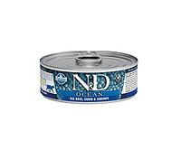 N&D Ocean Adult, сибас, кальмар, креветки, банка 80гр.