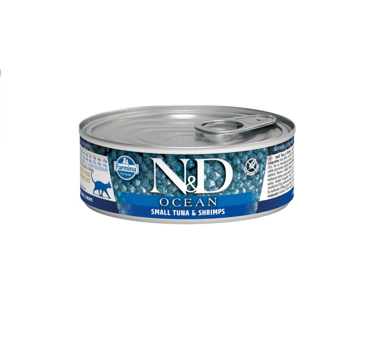 N&D Ocena Adult, тунец, креветки, банка 80гр.