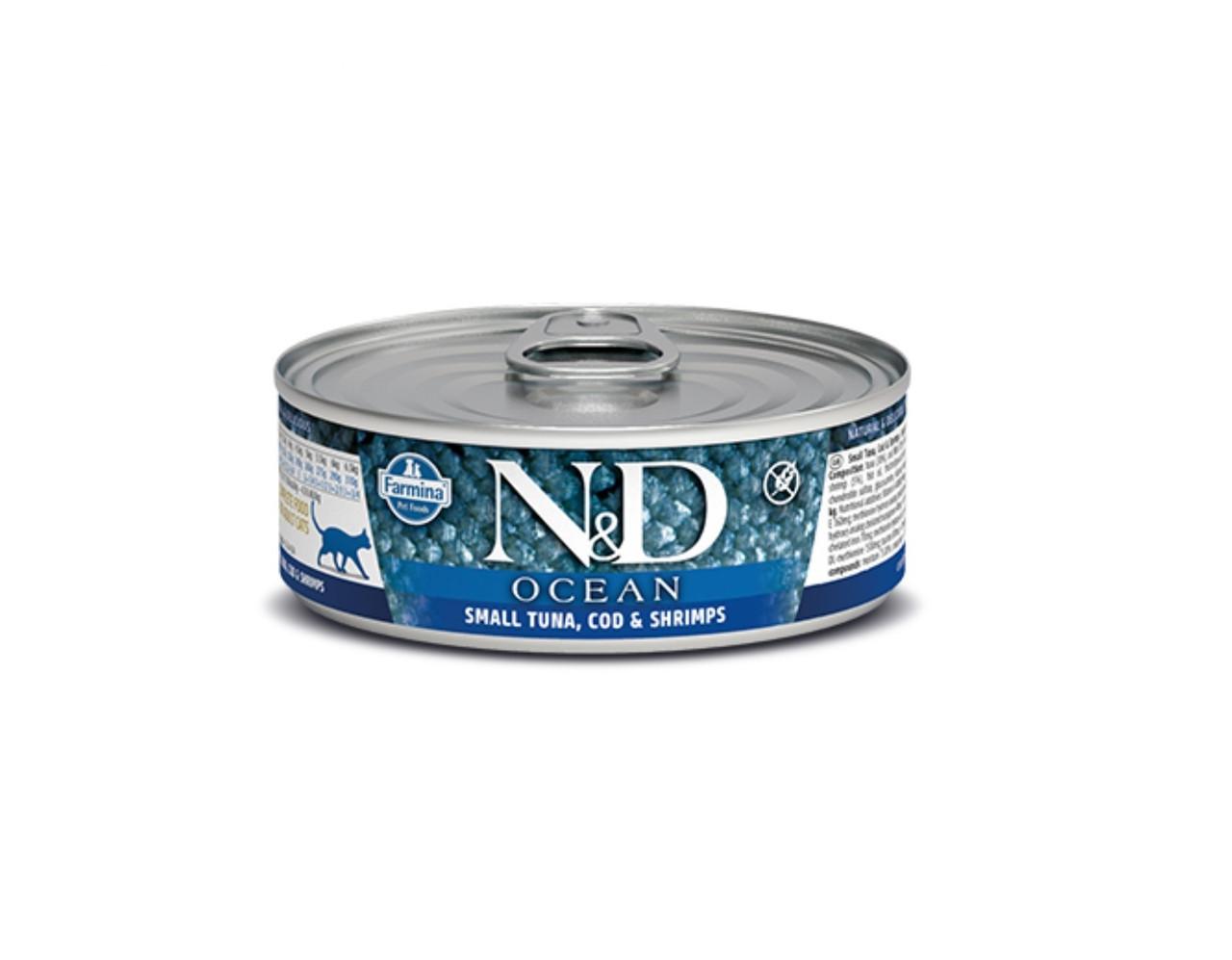 N&D Ocean Adult, тунец, треска, креветки, банка 80гр.