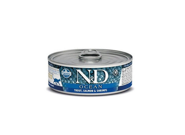N&D Ocean Adult, форель, лосось, креветки, банка 80гр.