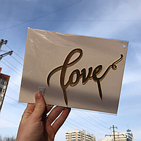 """Зеркальный топпер для торта """"Love"""""""