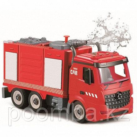 Пожарная машина-конструктор, фрикционная, свет, звук, вода, 1:12 Funky toys