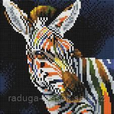 """Картины стразами на подрамнике """"Цветная зебра"""" 20х20см"""