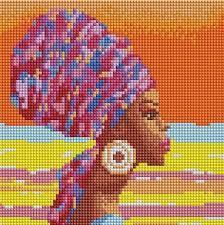 """Картины стразами на подрамнике """"Африканская девушка"""" 20х20см"""