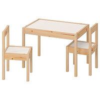 Стол детский с 2 стульями ЛЭТТ белый/сосна ИКЕА, IKEA