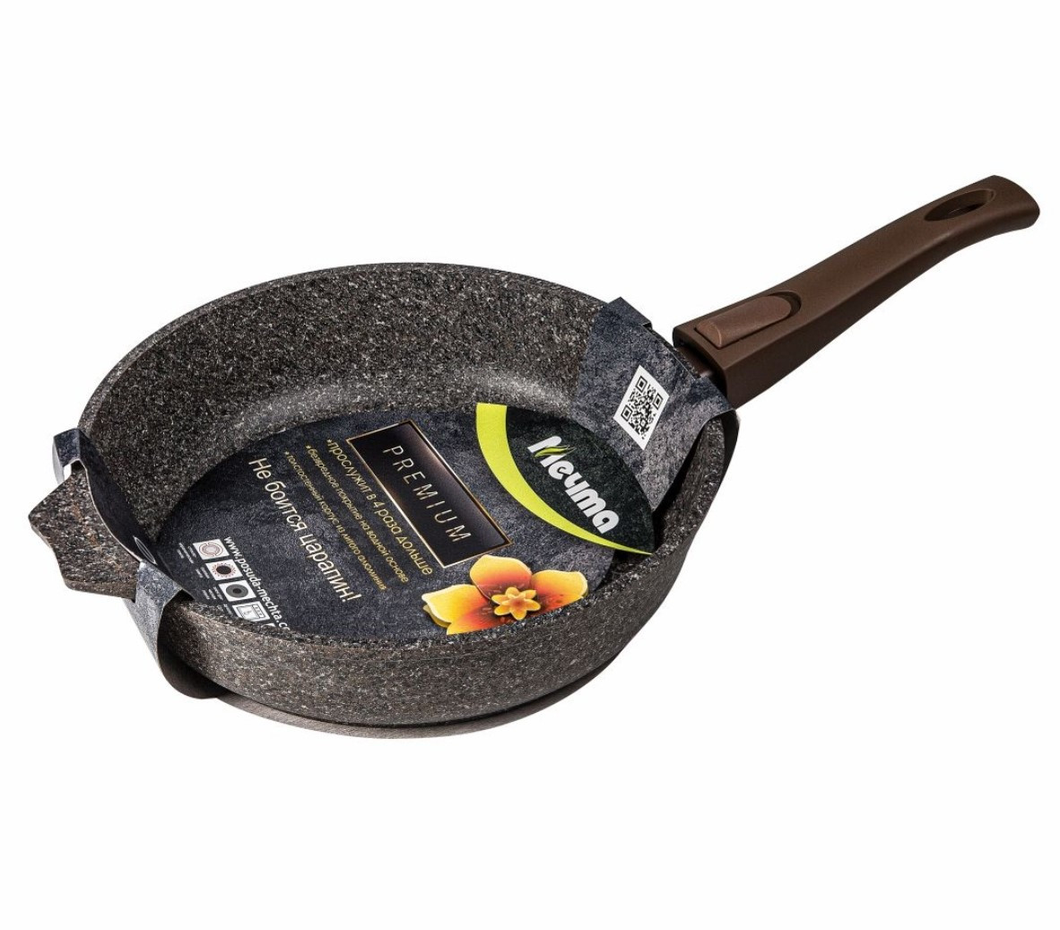 """Cковорода Мечта """"Premium"""" (mokko) 18 см. со съемной ручкой"""