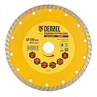 Диск алмазный, отрезной Turbo, 180 х 22,2 мм, сухая резка Denzel