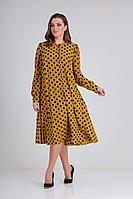 Женское осеннее желтое нарядное большого размера платье Andrea Style 0347 горчица+синий 52р.
