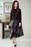 Женское осеннее кожаное черное нарядное платье Мода Юрс 2652 черный 50р.
