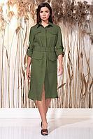 Женское летнее льняное зеленое нарядное платье Faufilure С1155 олива 48р.
