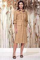 Женское летнее льняное коричневое нарядное платье Faufilure С1155 кэмел 48р.