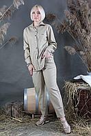 Женский осенний кожаный зеленый брючный комплект Стильная леди М-087/М-095 олива 42р.