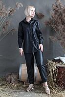 Женский осенний кожаный черный брючный комплект Стильная леди М-087/М-095 черный 44р.