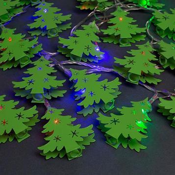 """Гирлянда """"Нить"""" 4 м с насадками """"Ёлочки зелёная"""", IP20, прозрачная нить, 20 LED, свечение мульти, 8 режимов,"""
