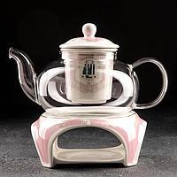 УЦЕНКА Чайник заварочный «Гламур», 650 мл, с керамическим ситом и подставкой для подогрева