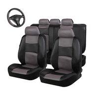 Авточехлы TORSO Premium универсальные, 9 предметов, кож.зам, чёрно-серый