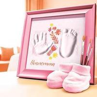 Слепок ручки, ножки малышки с росписью 'Цветы'