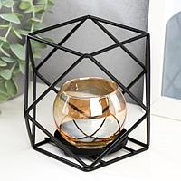 "Подсвечник металл, стекло на 1 свечу ""Квадраты и треугольники"" 10х15х15 см"