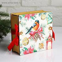 """Коробка деревянная, 16.6×16.6×7 см """"Новогодняя. Снегирь"""", подарочная упаковка"""