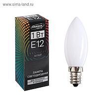 Лампа светодиодная, E12, 1 Вт, 220 В, для ночников и гирлянд, белый